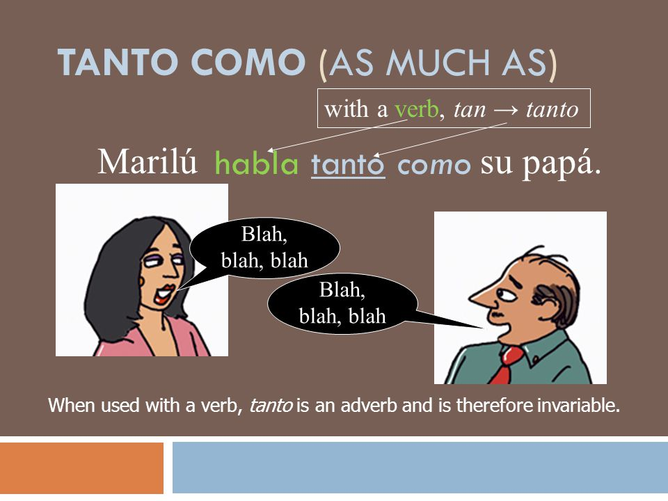 When used with a verb, tanto is an adverb and is therefore invariable.
