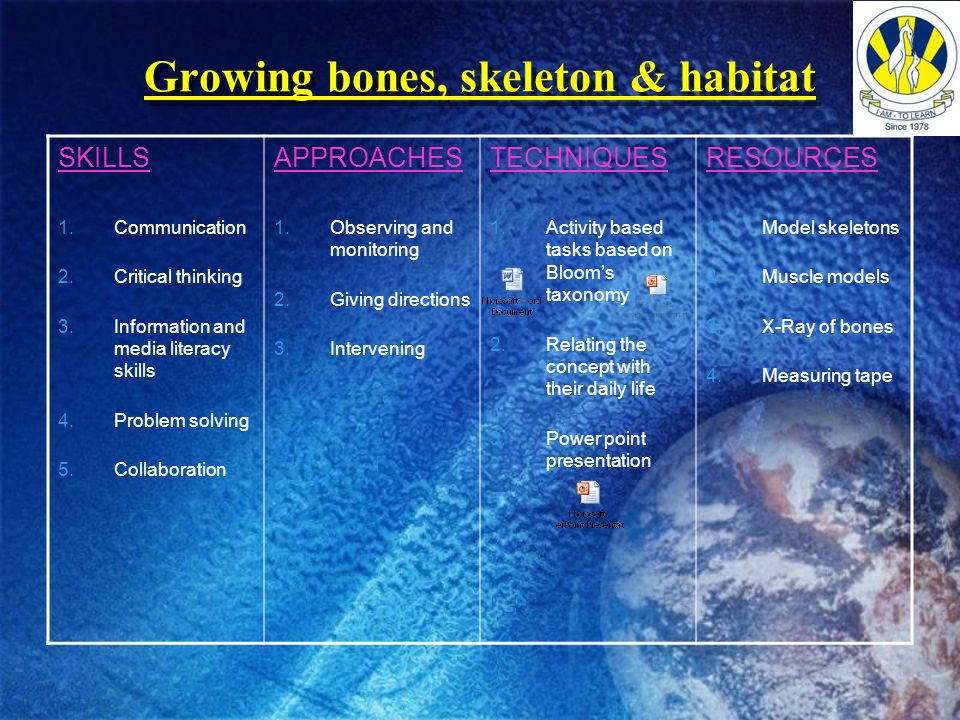 Growing bones, skeleton & habitat