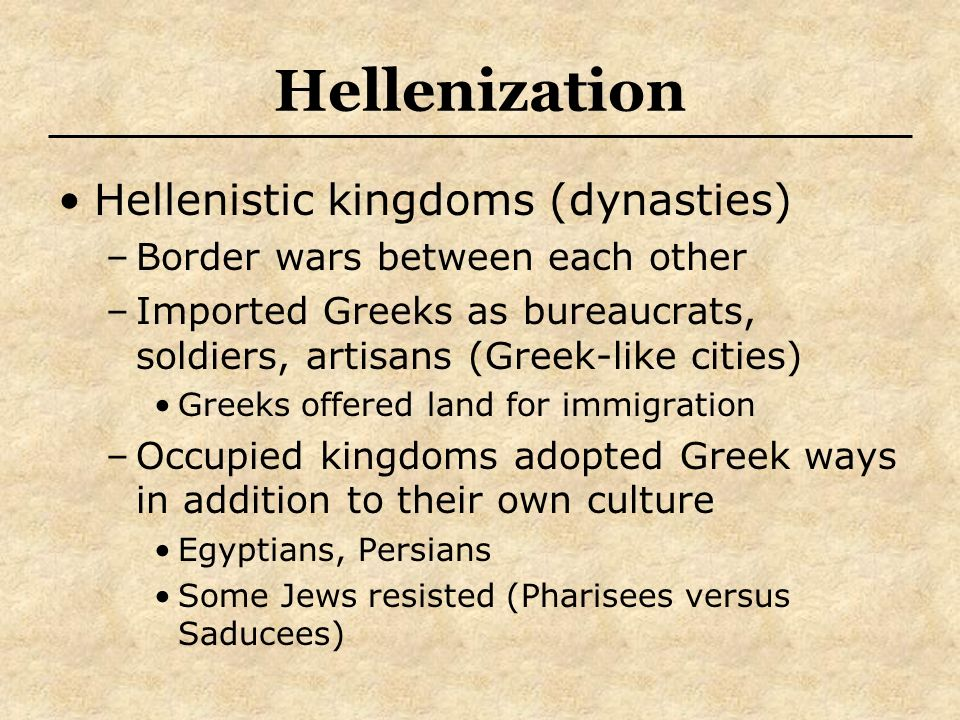 Hellenization Hellenistic kingdoms (dynasties)
