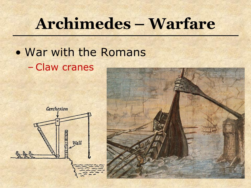 Archimedes – Warfare War with the Romans Claw cranes