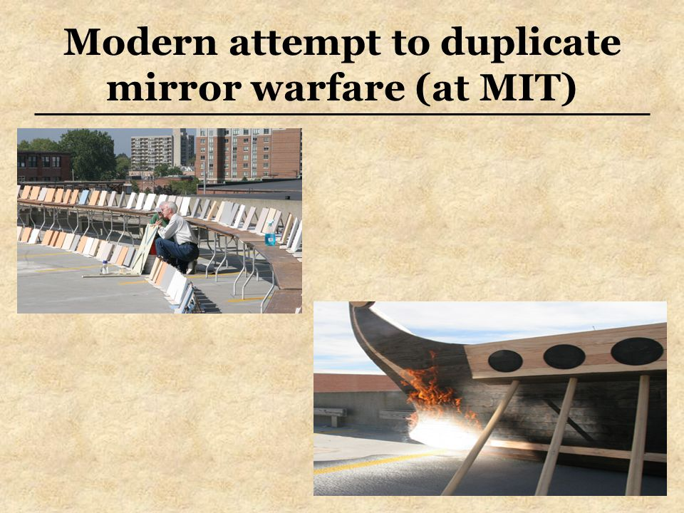 Modern attempt to duplicate mirror warfare (at MIT)