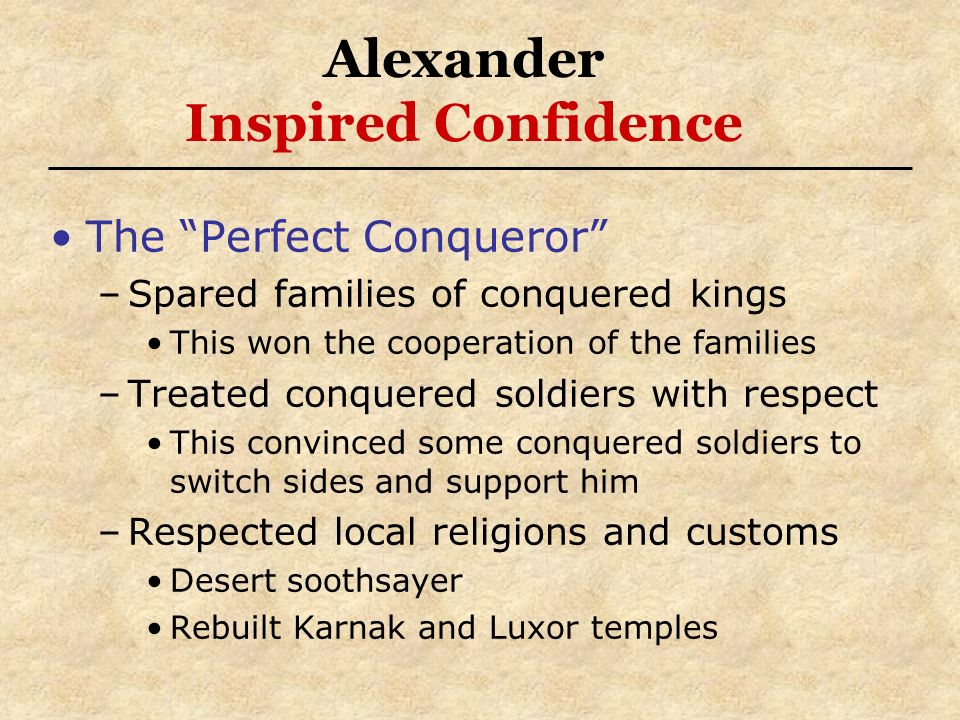 Alexander Inspired Confidence