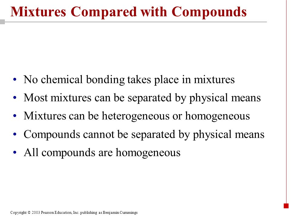 Mixtures Compared with Compounds