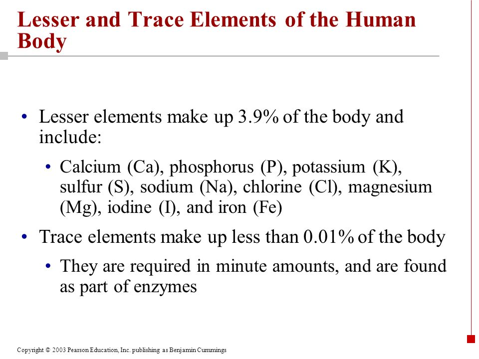 Lesser and Trace Elements of the Human Body