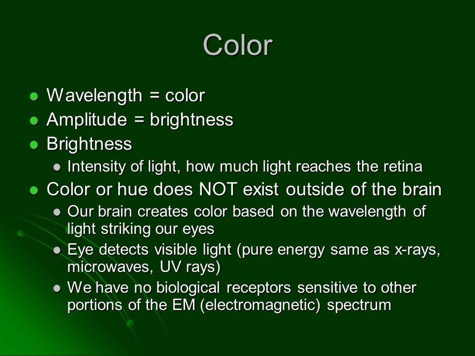 Color Wavelength = color Amplitude = brightness Brightness