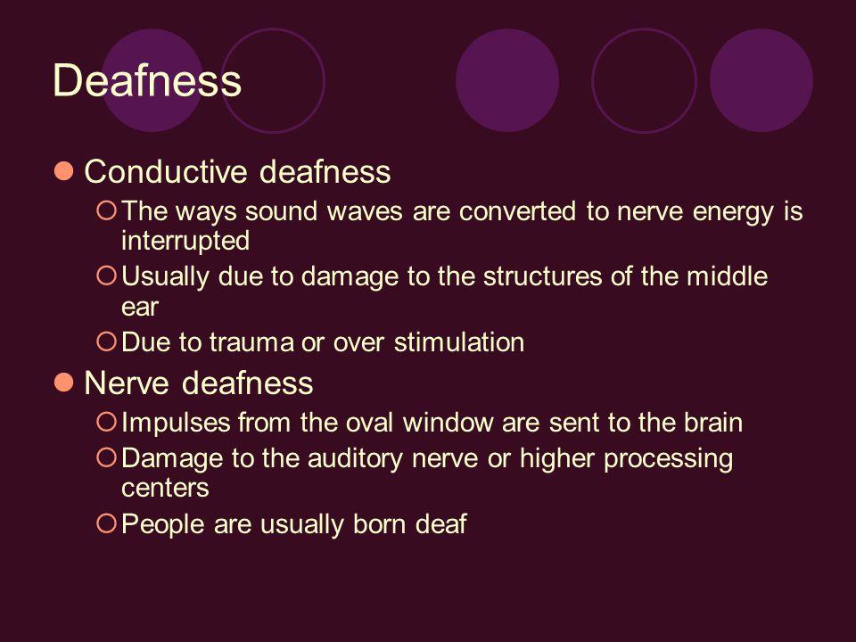 Deafness Conductive deafness Nerve deafness