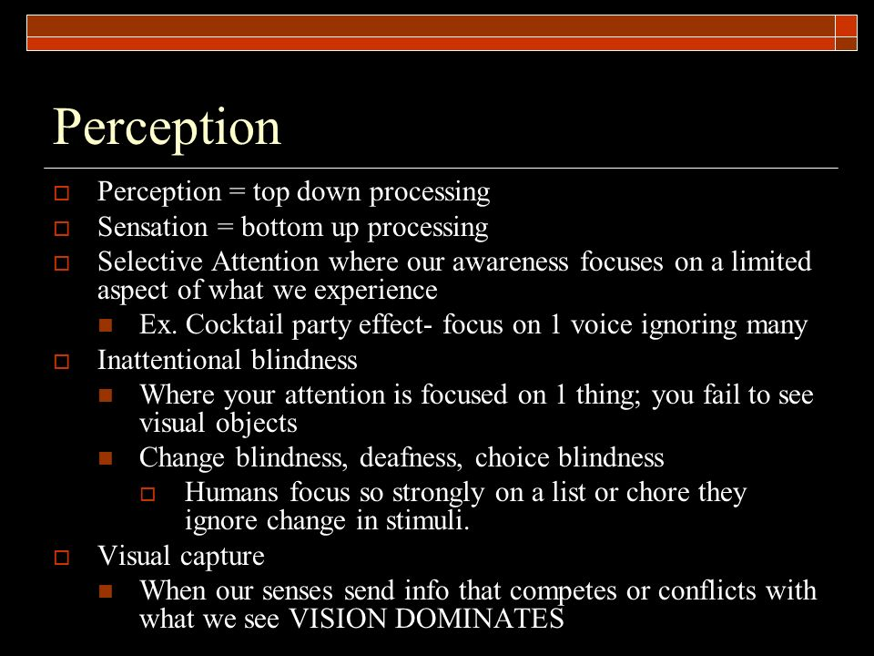 Perception Perception = top down processing
