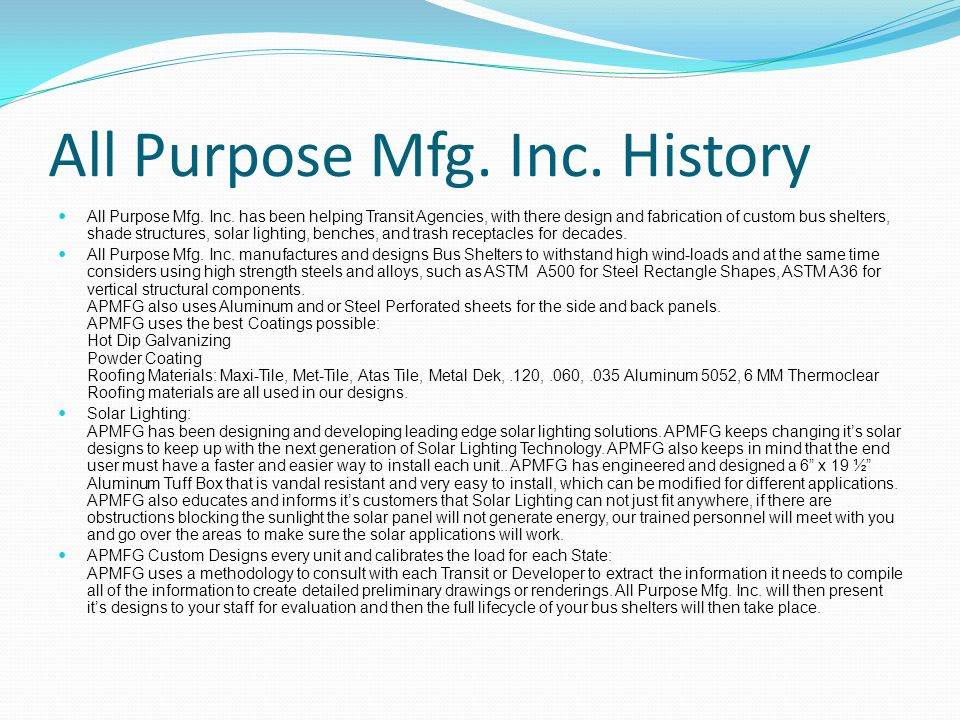All Purpose Mfg. Inc. History