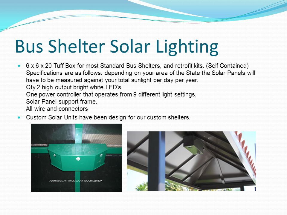 Bus Shelter Solar Lighting