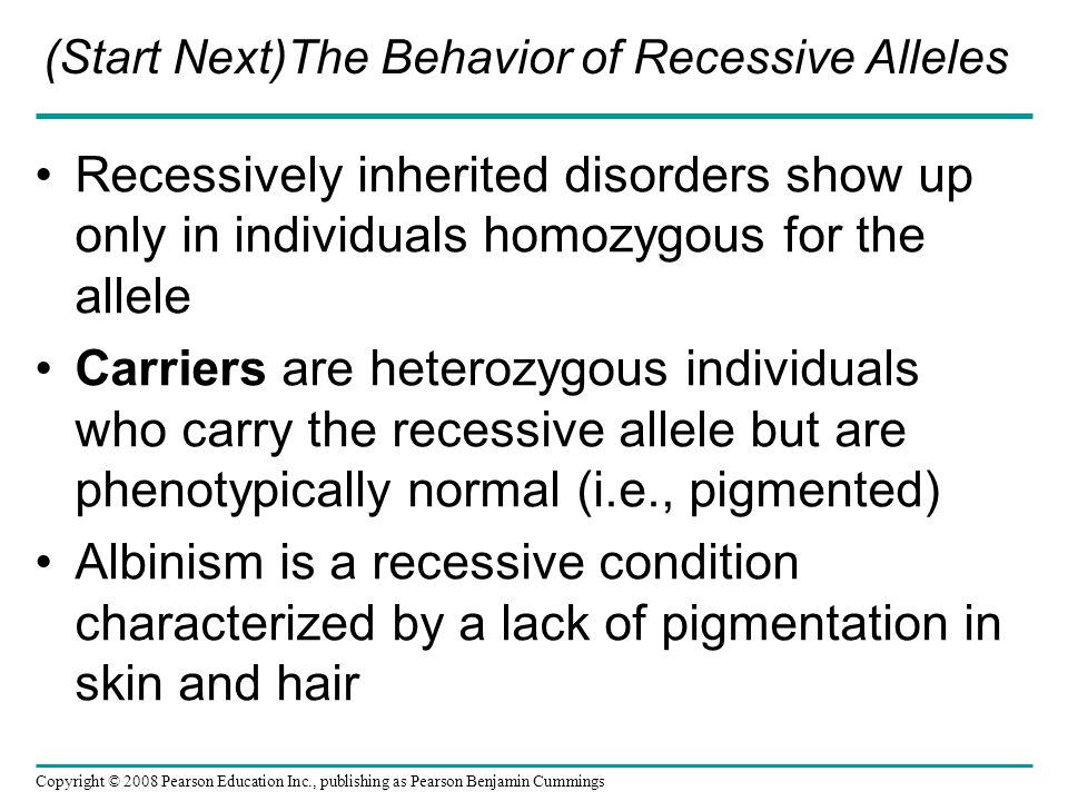 (Start Next)The Behavior of Recessive Alleles