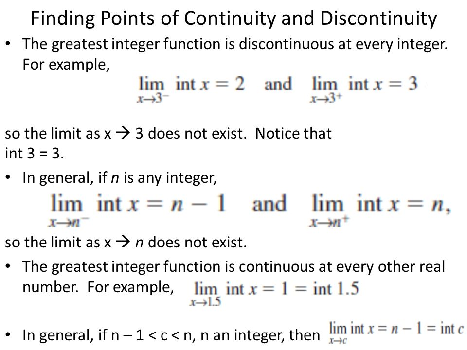 Finding Points of Continuity and Discontinuity
