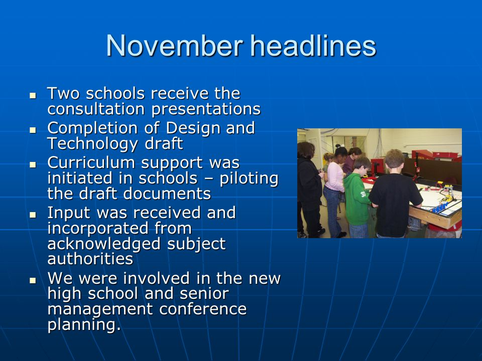 November headlines Two schools receive the consultation presentations