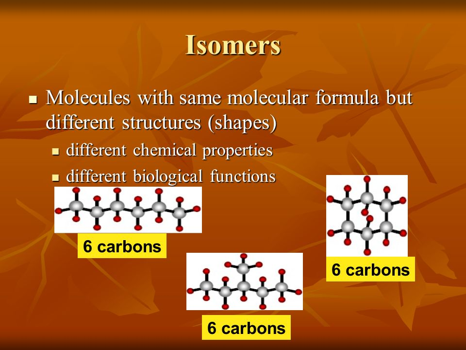 Isomers Molecules with same molecular formula but different structures (shapes) different chemical properties.