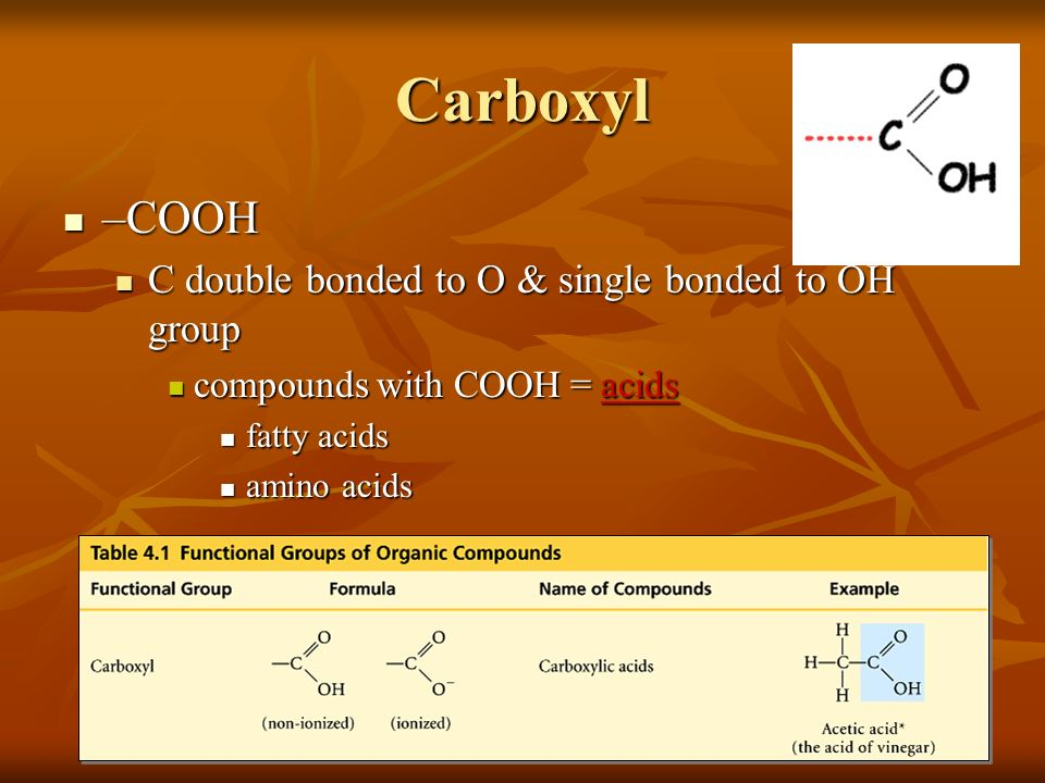 Carboxyl –COOH C double bonded to O & single bonded to OH group