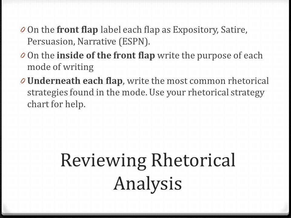 Reviewing Rhetorical Analysis