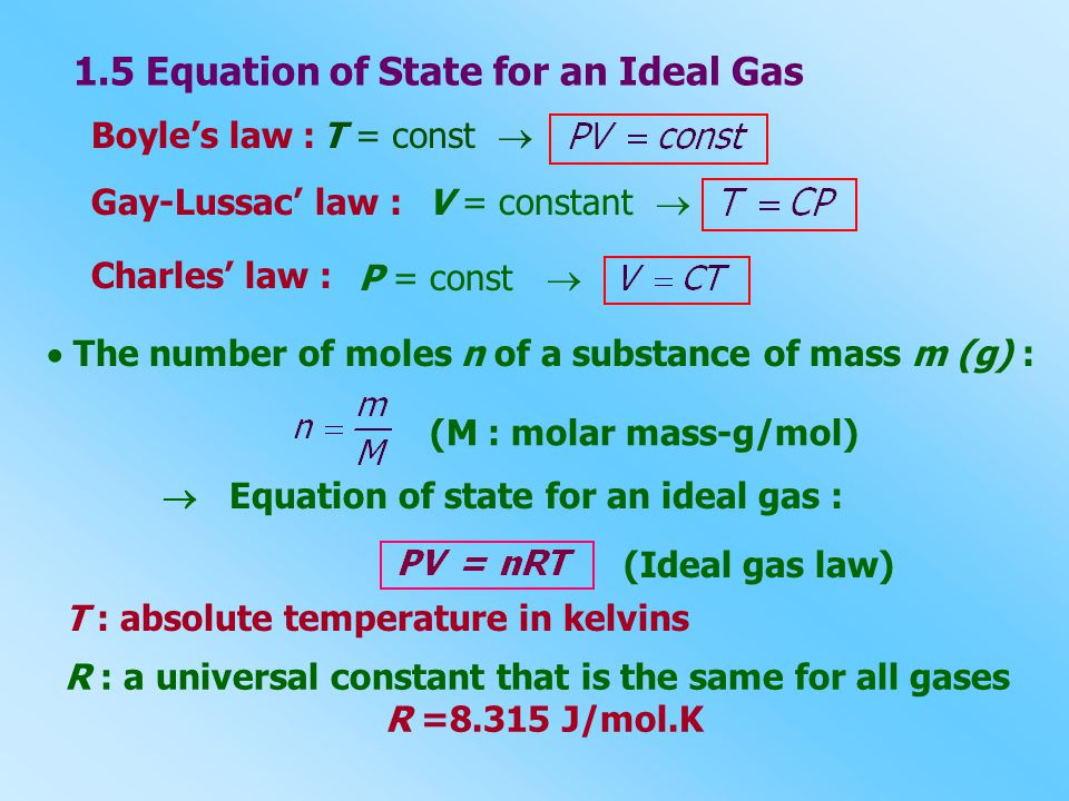 1.5 Equation of State for an Ideal Gas