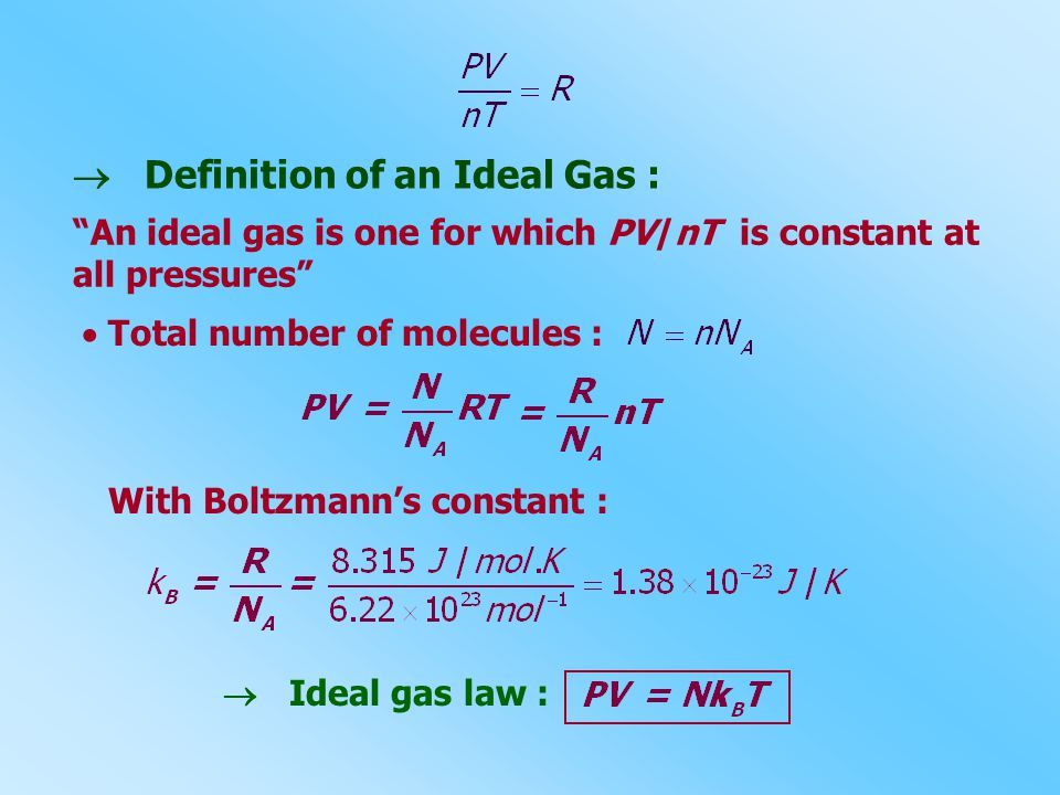  Definition of an Ideal Gas :