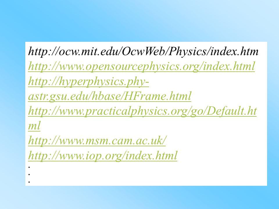 http://ocw.mit.edu/OcwWeb/Physics/index.htm http://www.opensourcephysics.org/index.html. http://hyperphysics.phy-astr.gsu.edu/hbase/HFrame.html.