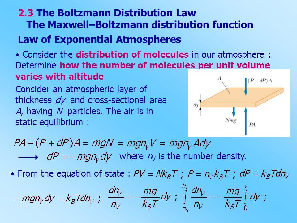 2.3 The Boltzmann Distribution Law