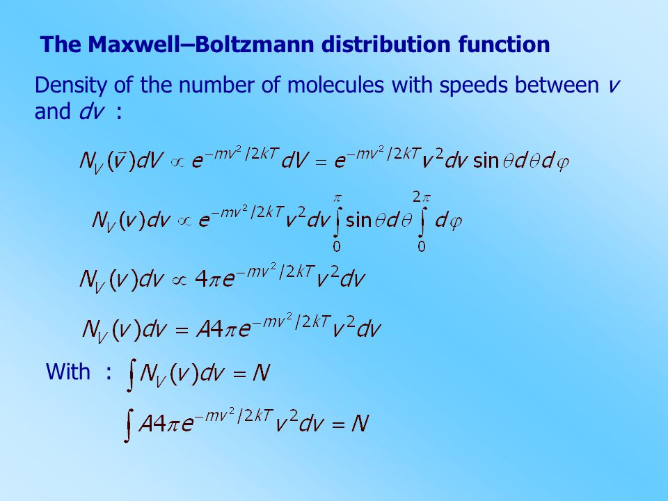 The Maxwell–Boltzmann distribution function