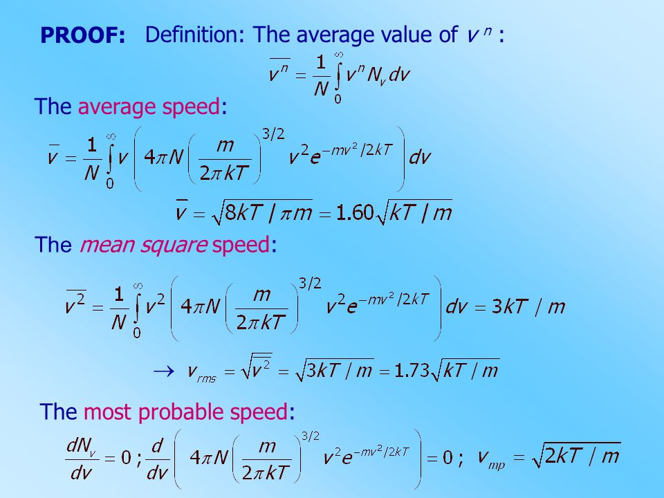 PROOF: Definition: The average value of v n : The average speed: The mean square speed:  The most probable speed: