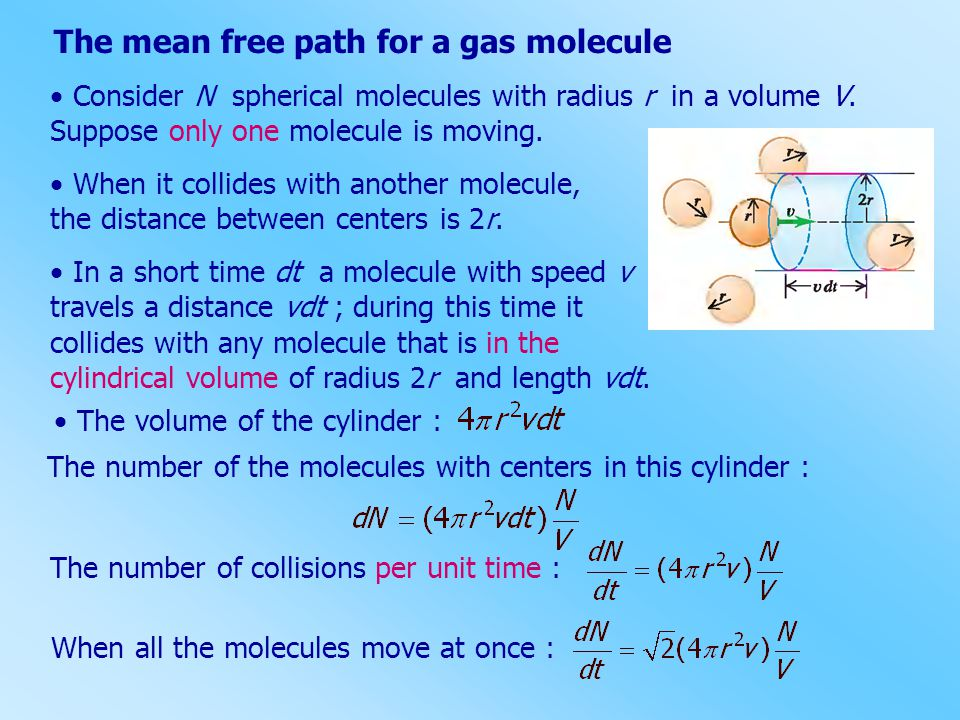 The mean free path for a gas molecule