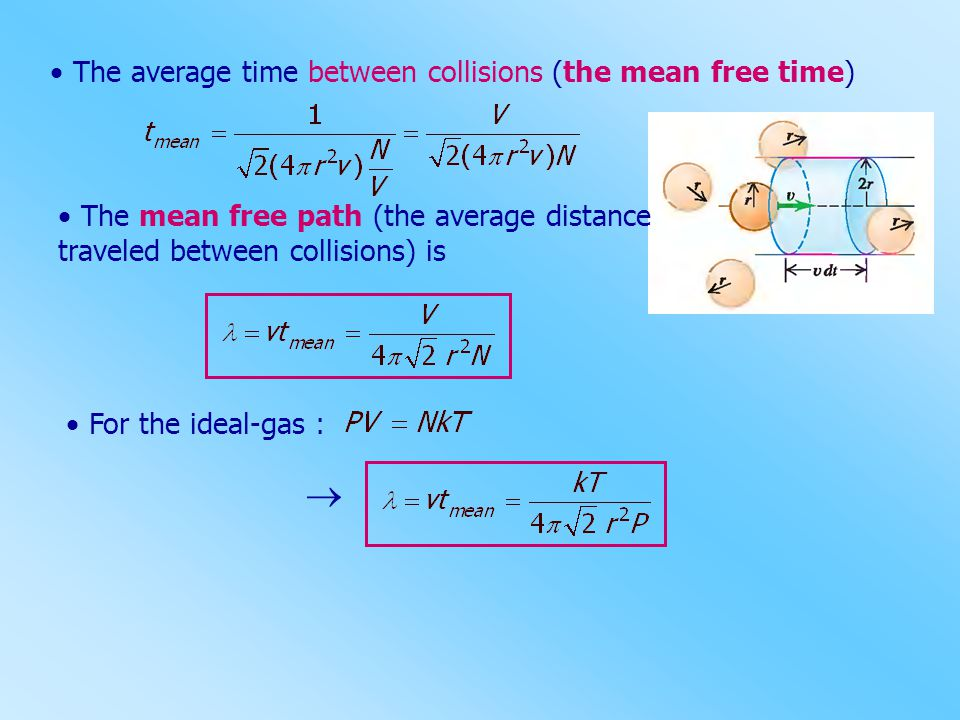   The average time between collisions (the mean free time)