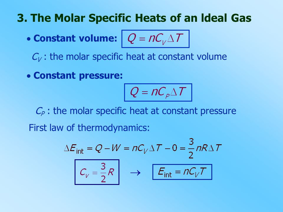 3. The Molar Specific Heats of an ldeal Gas