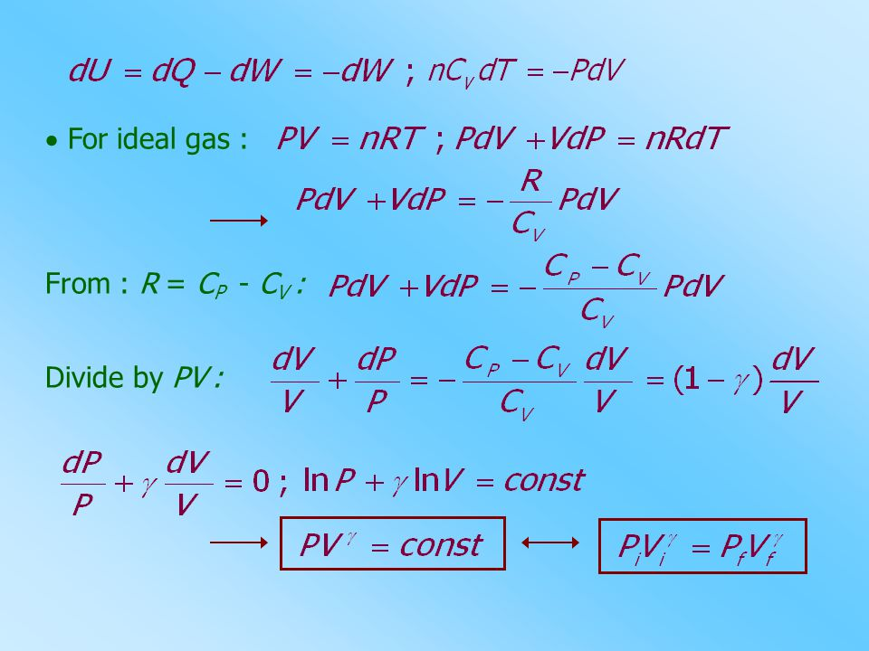  For ideal gas : From : R = CP - CV : Divide by PV :