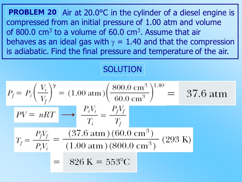 Air at 20.0°C in the cylinder of a diesel engine is