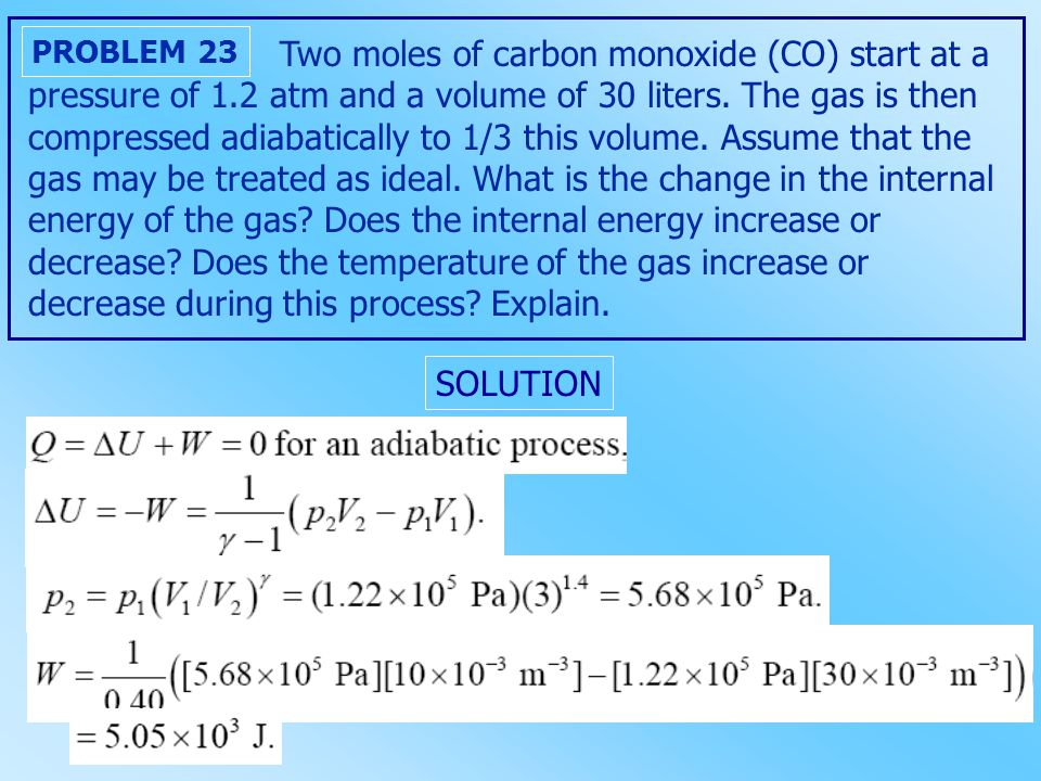 Two moles of carbon monoxide (CO) start at a