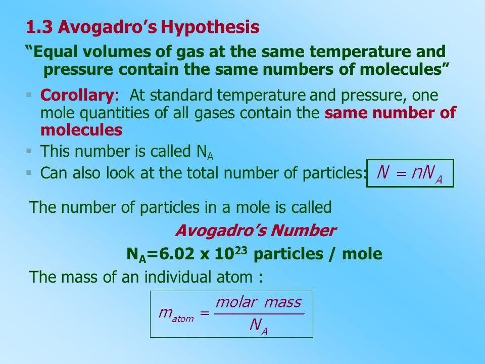1.3 Avogadro's Hypothesis