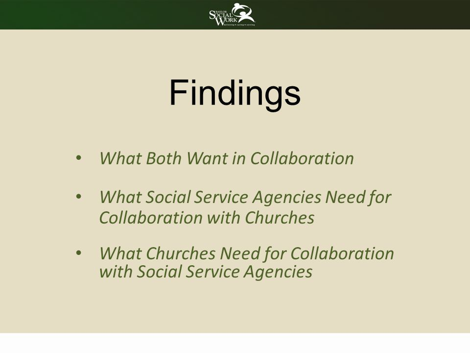 What Churches Need for Collaboration with Social Service Agencies