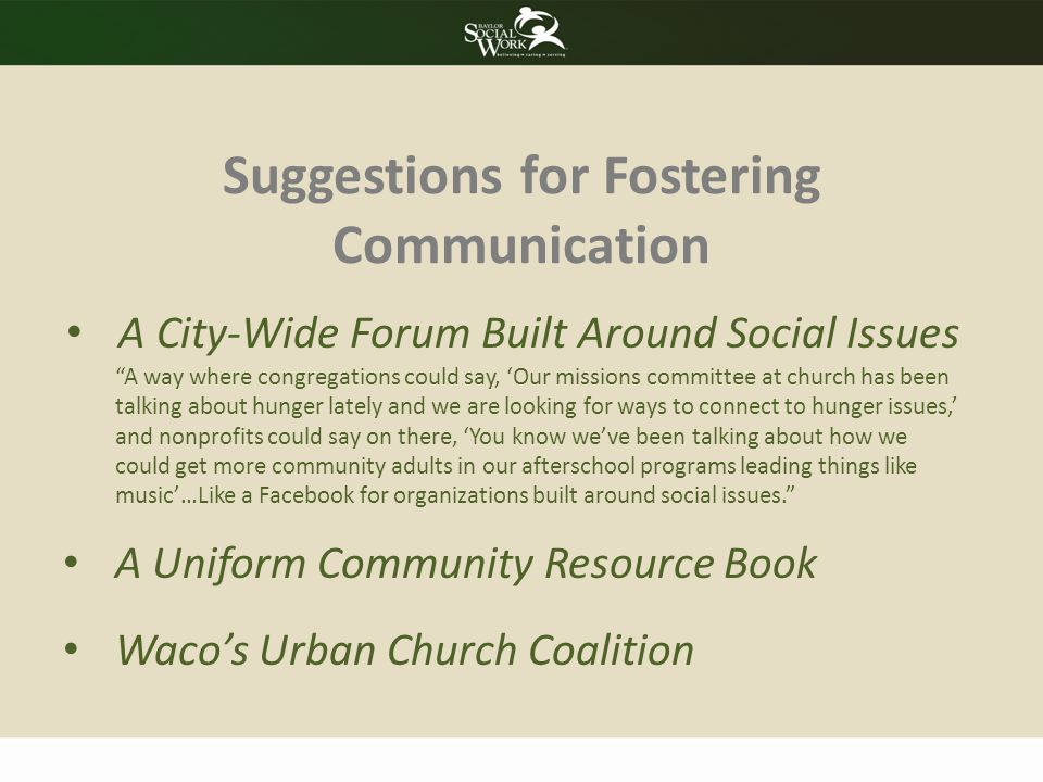 Suggestions for Fostering Communication