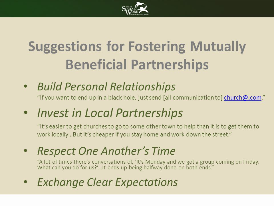 Suggestions for Fostering Mutually Beneficial Partnerships