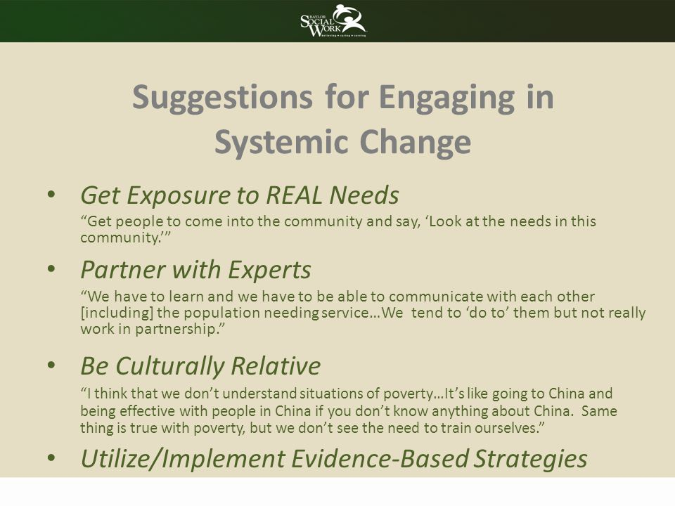 Suggestions for Engaging in Systemic Change