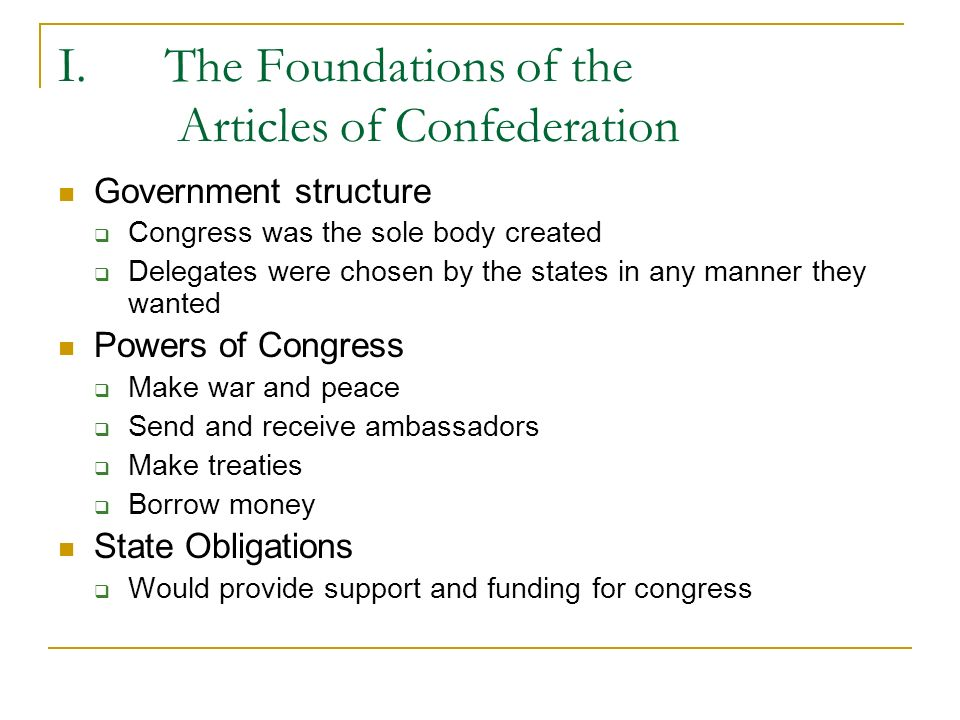 The Foundations of the Articles of Confederation