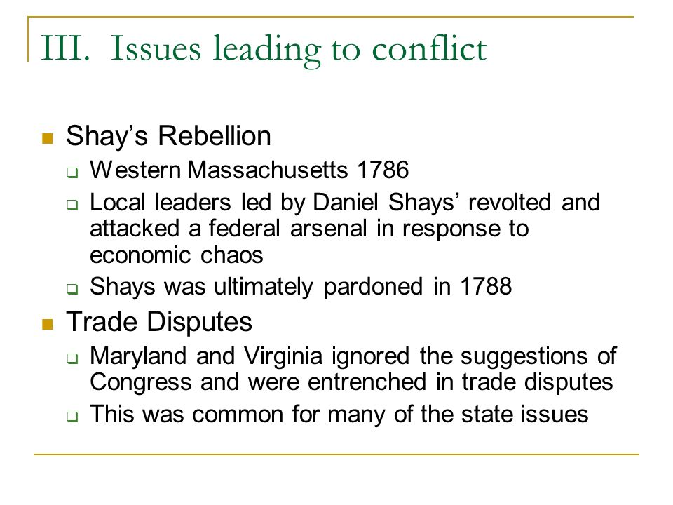 III. Issues leading to conflict