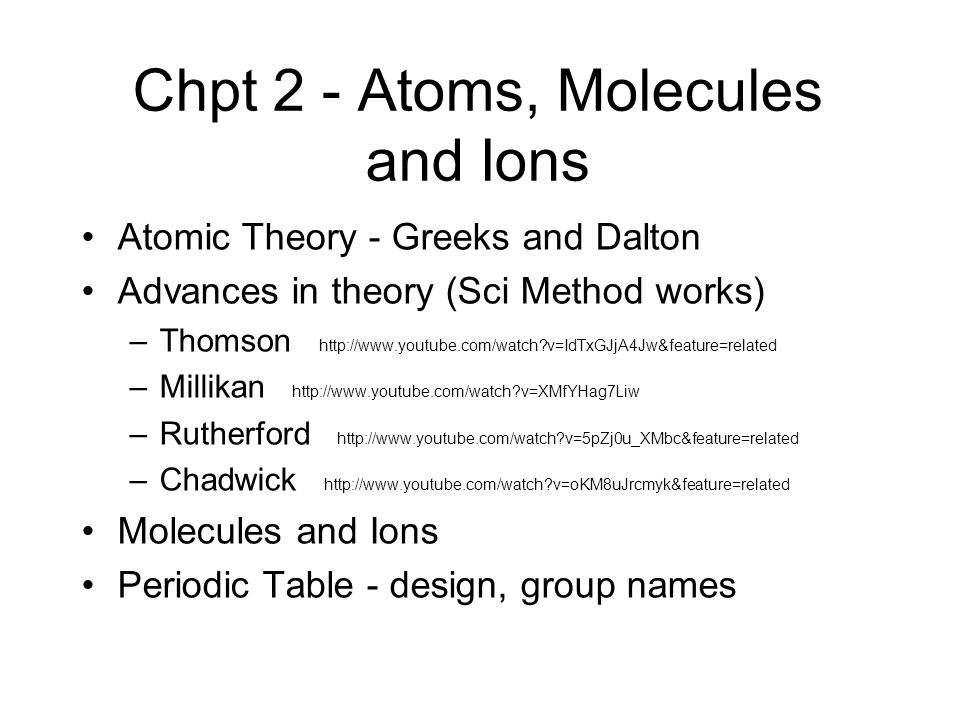 Chpt 2 - Atoms, Molecules and Ions
