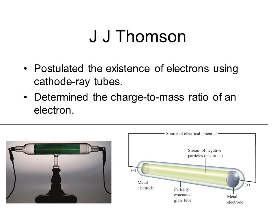J J Thomson Postulated the existence of electrons using cathode-ray tubes.
