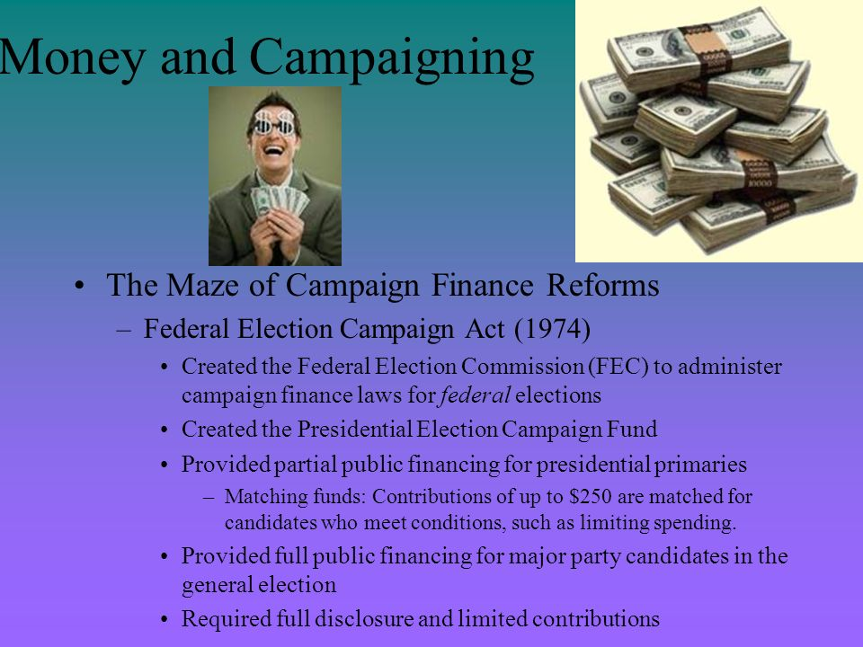 Money and Campaigning The Maze of Campaign Finance Reforms