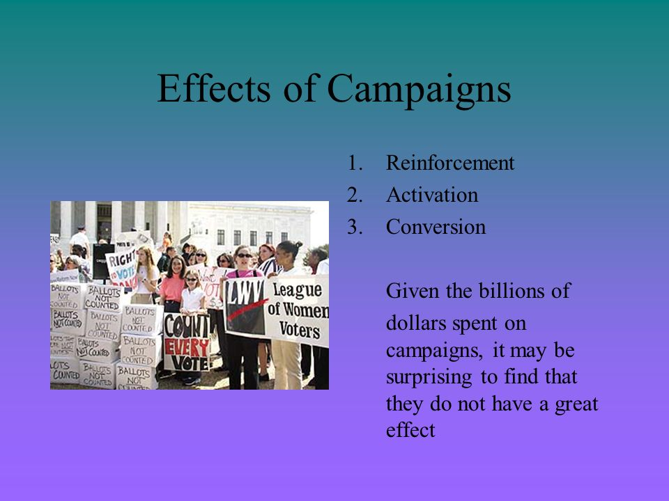Effects of Campaigns Reinforcement Activation Conversion