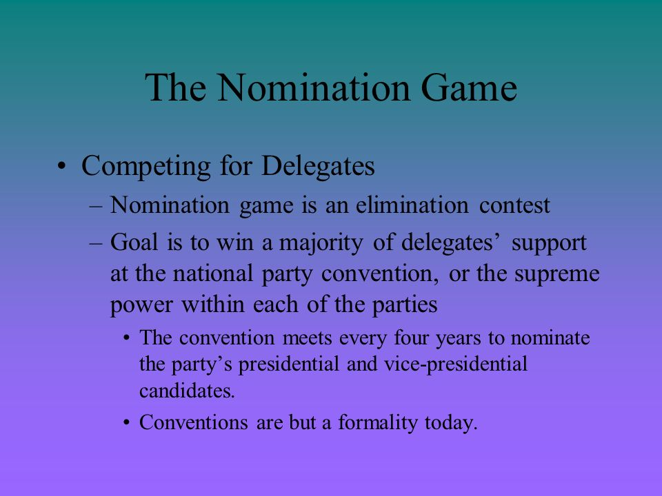 The Nomination Game Competing for Delegates