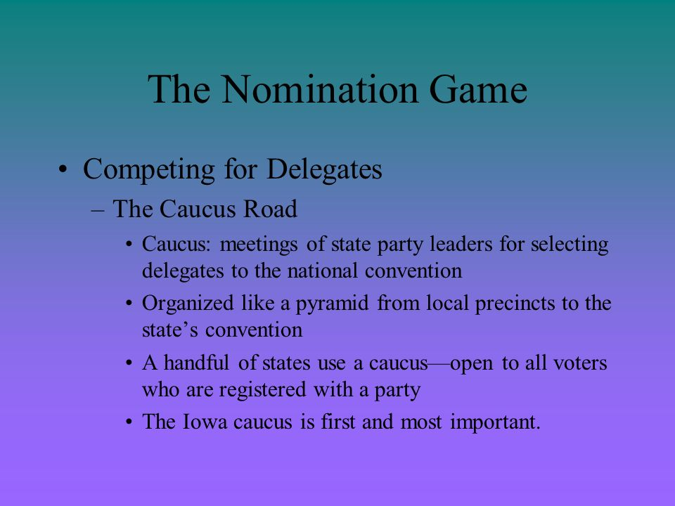 The Nomination Game Competing for Delegates The Caucus Road