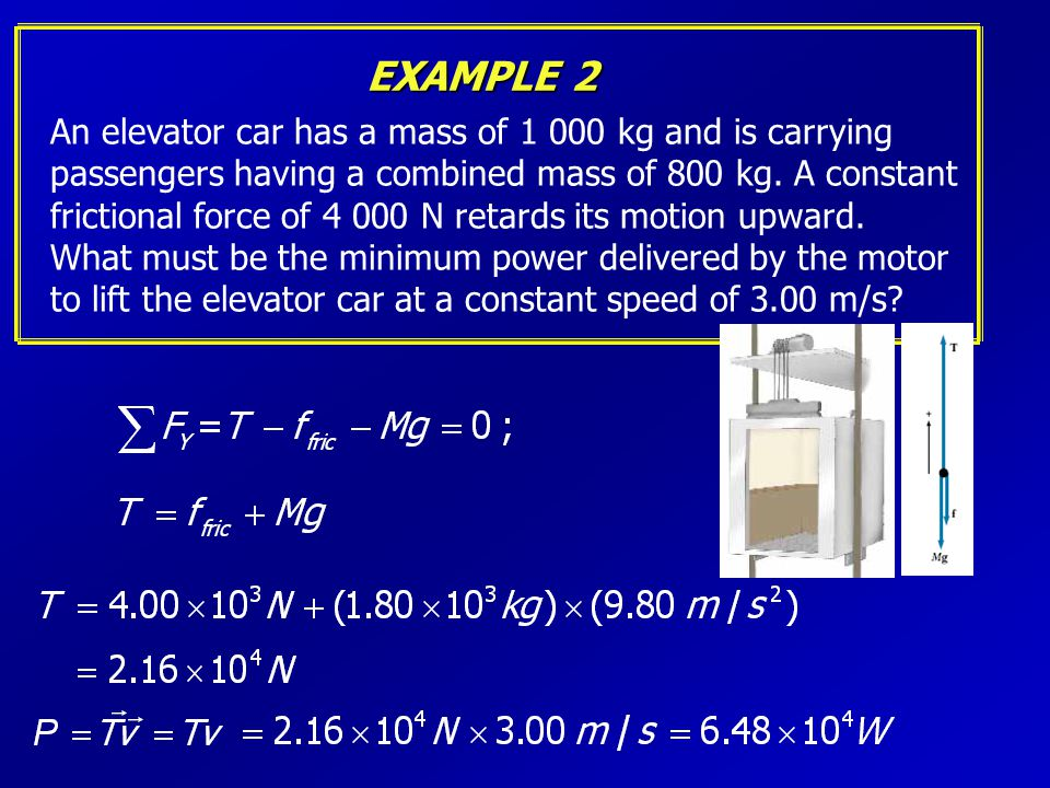 EXAMPLE 2 An elevator car has a mass of 1 000 kg and is carrying