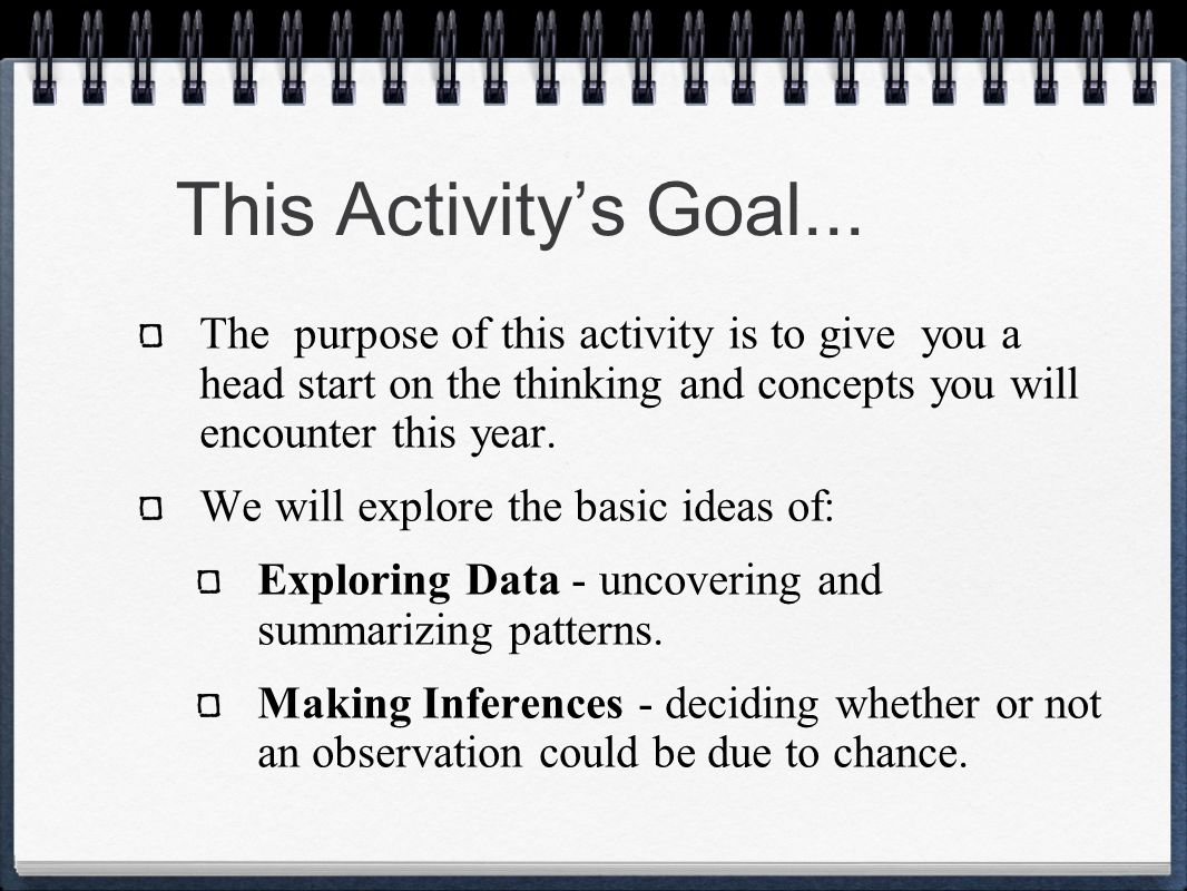 This Activity's Goal... The purpose of this activity is to give you a head start on the thinking and concepts you will encounter this year.