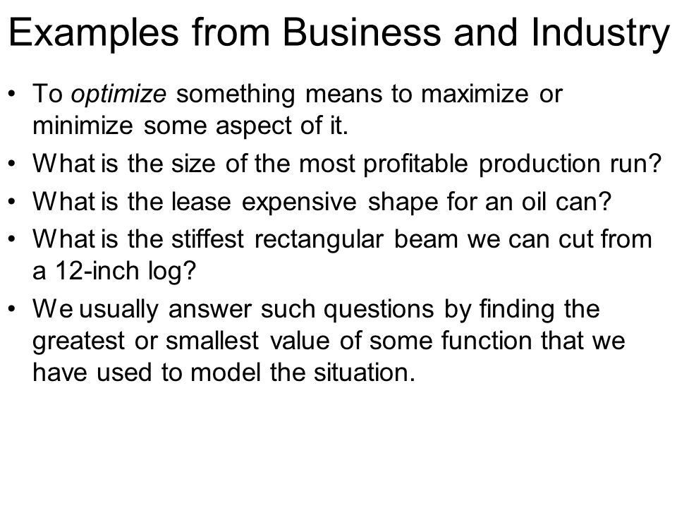 Examples from Business and Industry