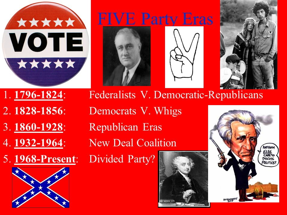FIVE Party Eras 1. 1796-1824: Federalists V. Democratic-Republicans
