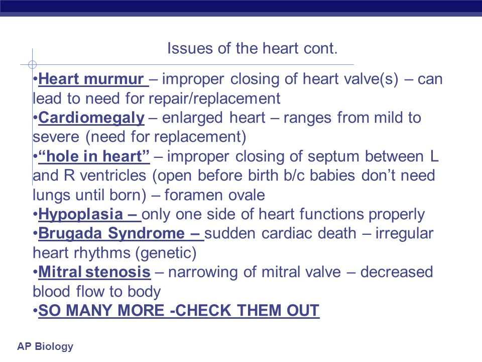 Issues of the heart cont.