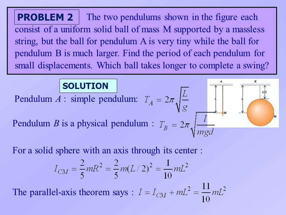 Pendulum A : simple pendulum: